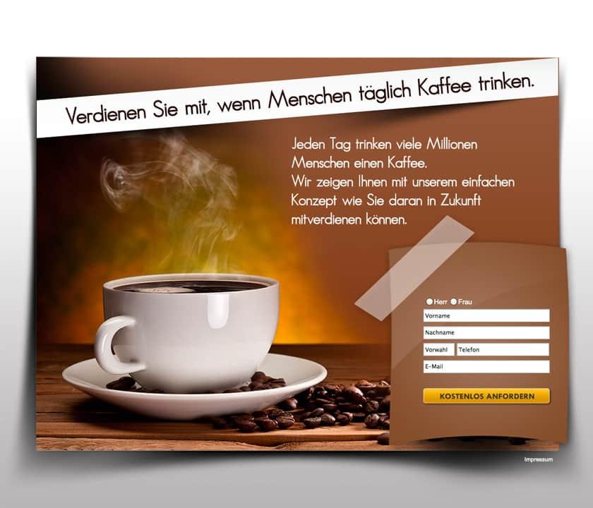 Landinpage Bild JV ELite Club Kaffeetrinkend Geld verdienen